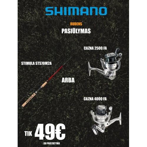 Komplektas Shimano: spiningas Stimula + ritė Cazna(2500FA arba 4000FA) tik 49€