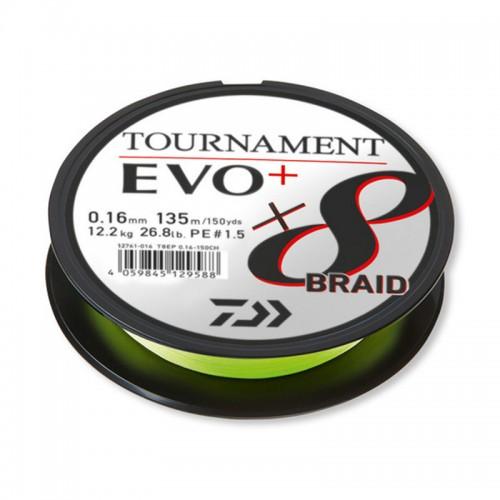 Pintas valas Daiwa Tournament X8 Braid EVO+ CHARTREUSE 135m