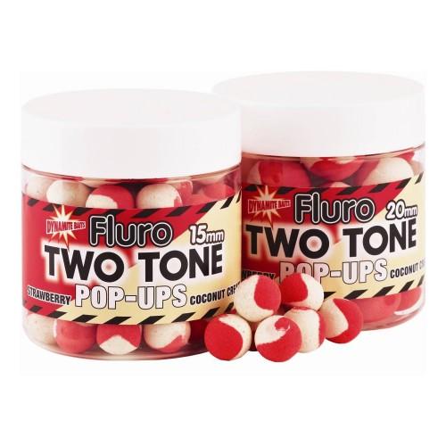 Dynamite Baits Pop-Ups Fluro Two Tone Strawberry and Coconut Cream 15mm